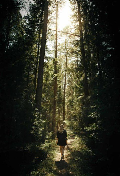 Eine Frau geht einen Trampelpfad durch einen dichten, saftig grünen Wald entlang.