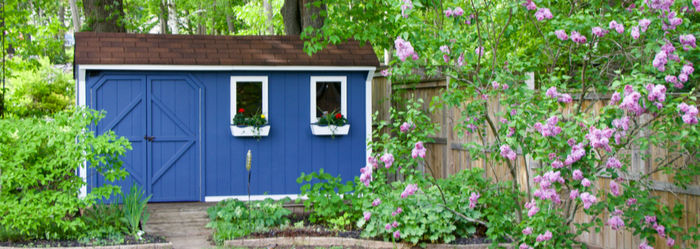 Colourful garden shed