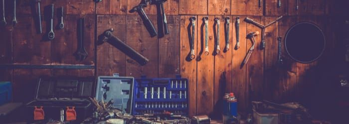 Tools in a garden shed - workshop