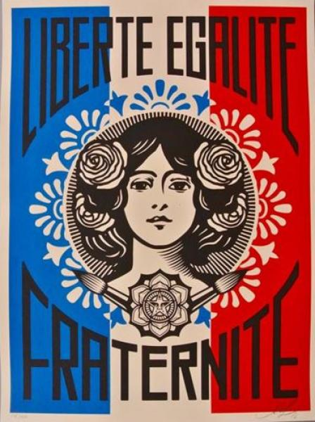 Shepard Fairey says Obey Giant (USA, 1970) Liberte Equality Fraternite Serigraph [...]