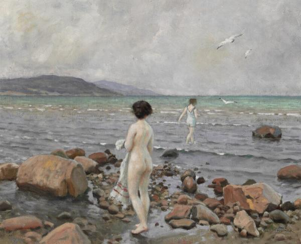 Paul Fischer: Two young women on the beach. Signed Paul Fischer. Oil on canvas. 48 x [...]