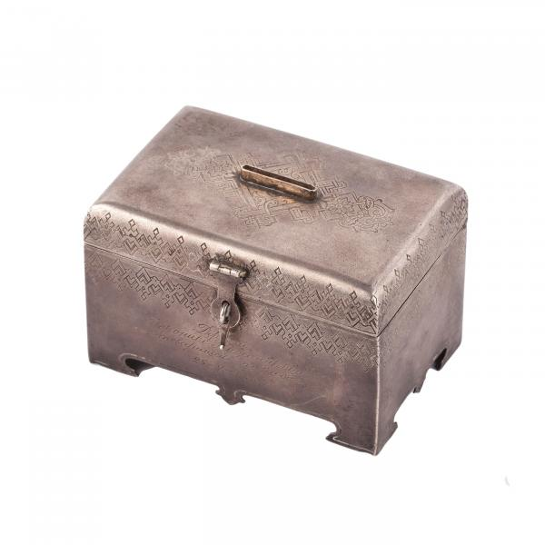 Silver casket in Russian style. 84 silver zolotnik mark, gilding, engravings. Moscow, [...]