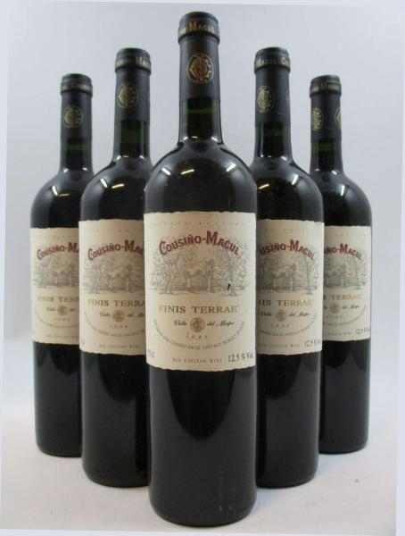 5 bouteilles CHILI - COUSINO MACUL 1998 Finis Terrae. Valle del Maipo (étiquettes [...]