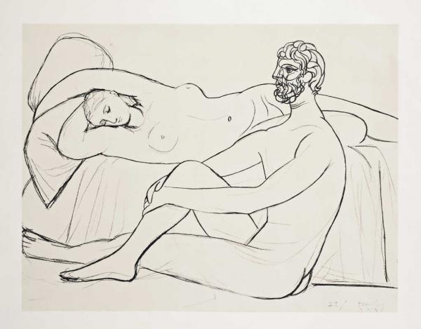 Pablo Picasso (1881-1973) (d'après) Femme endormie, homme assis à ses  côtés. -[...] | lot 334 | Estampes Anciennes et Modernes chez Audap &  Mirabaud | Auction.fr