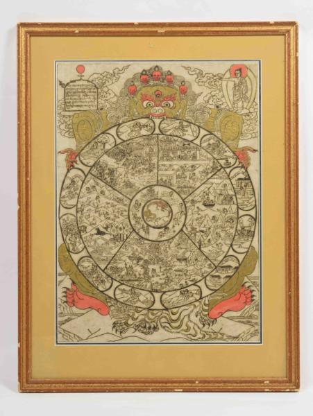 [Asian arts & photography] [Tibet] Wheel of cyclic existence, wheel of life - Woodcut [...]
