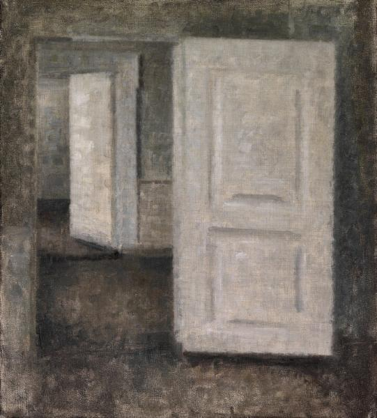 Vilhelm Hammershøi: White doors, Strandgade 25. 1913. Unsigned. Oil on canvas. 45 x [...]