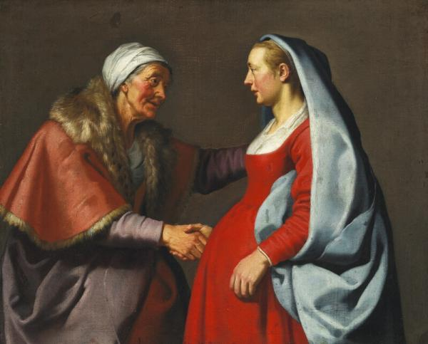 Lambert Jacobsz: The Visitation. Mary visiting her cousin Elisabeth. Unsigned. Oil on [...]