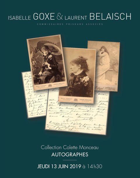 Vente Autographes - Collection Colette Monceau chez Isabelle Goxe et Laurent Belaisch Hôtel des ventes d'Enghien : 339 lots