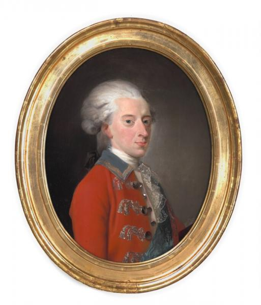 Jens Juel: Christian VII in red uniform. 1780s. Unsigned. Oil on canvas. Oval. 71 x [...]