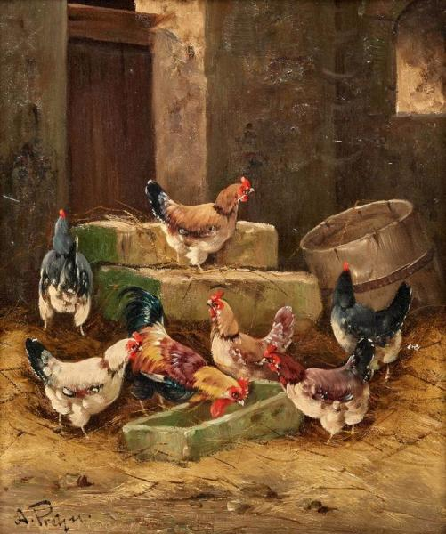 ALFRED PREHN  - (active in Germany circa 1880/1900)  - The hen house.  - Oil on [...]
