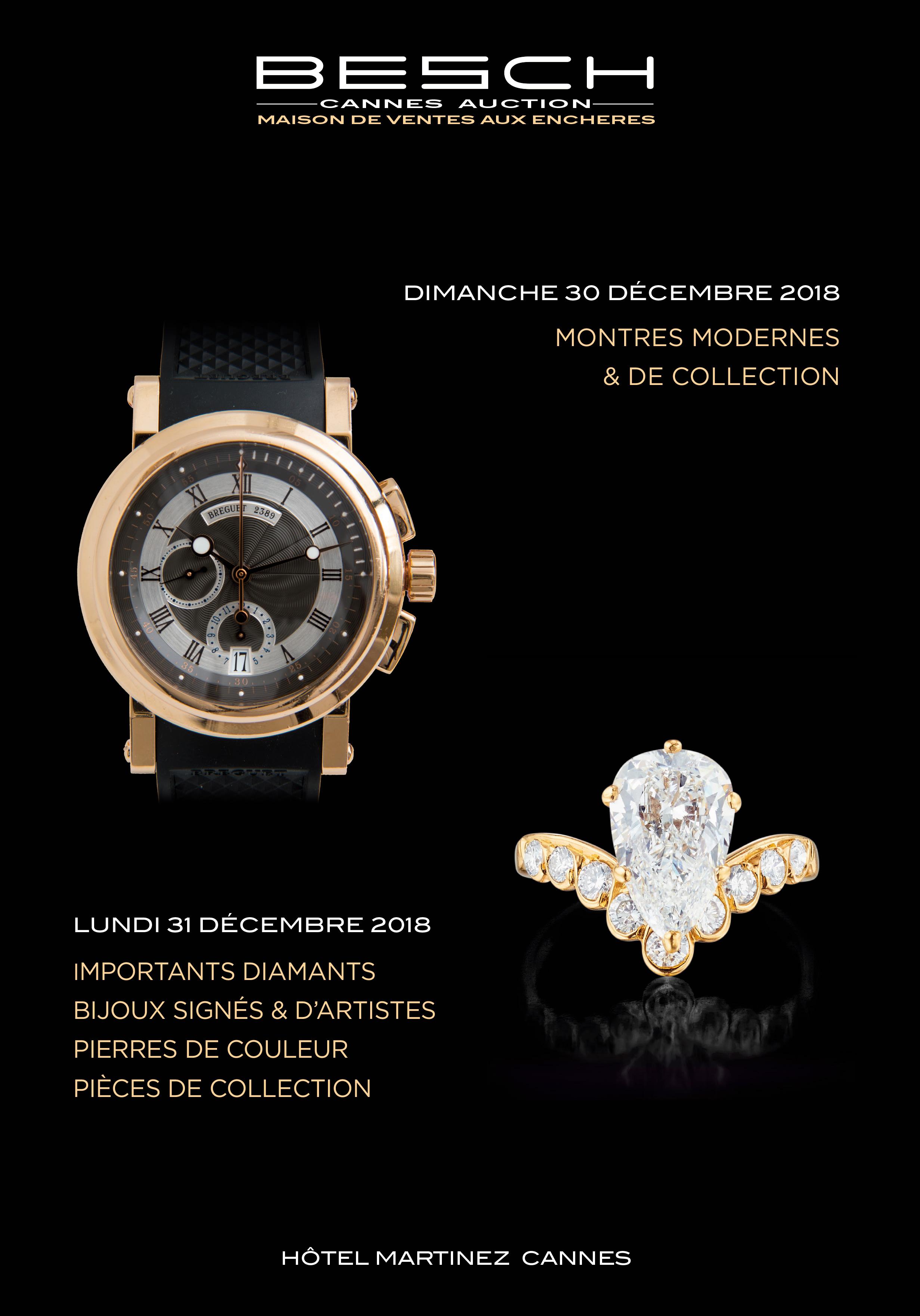 Vente Importants Diamants, Bijoux, Pierres de couleur, Pièces de Collection chez Besch Cannes Auction : 360 lots