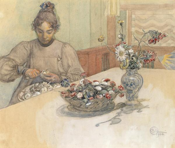Carl Larsson: Karin at the table. Signed with monogram and dated 1904. Watercolour, [...]