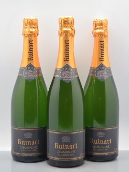 3 bouteilles CHAMPAGNE Ruinart 2002  -