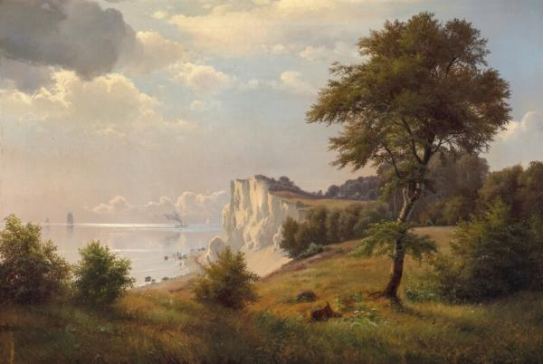 Danish painter, second half of the 19th century: A Summer day near the cliff of Møn. [...]