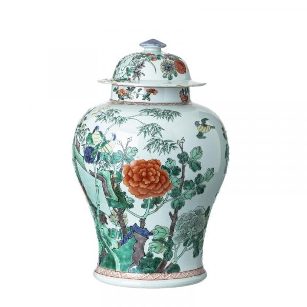 Chinese Porcelain, Famille verte Pot and cover, Guangxu - China, Guaangxu, , molded [...]
