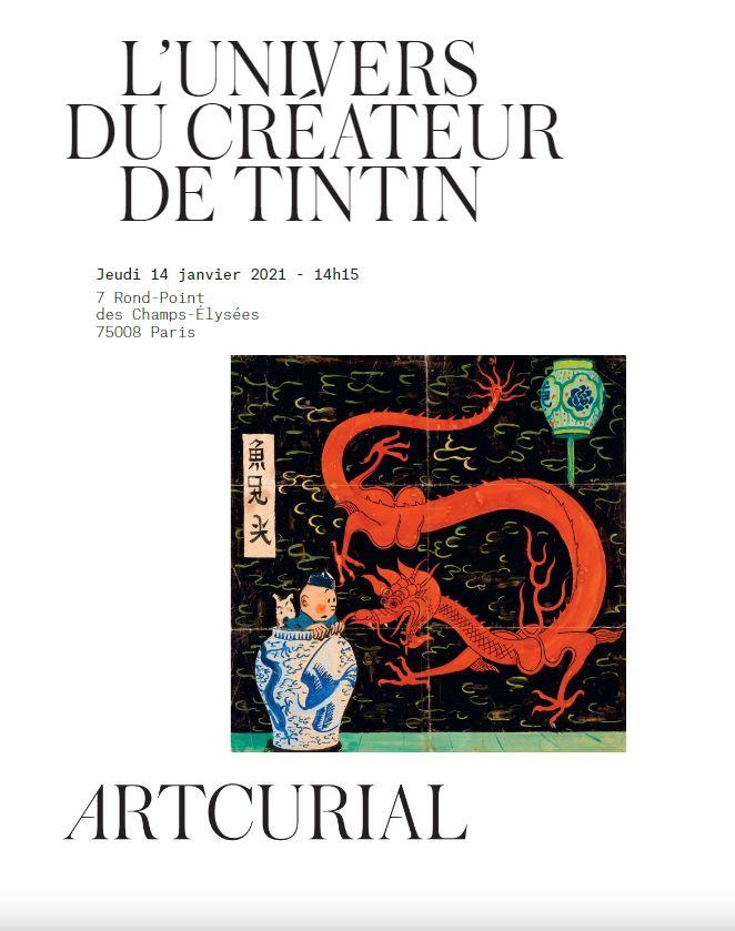 Vente L'Univers du Créateur de Tintin chez Artcurial : 107 lots