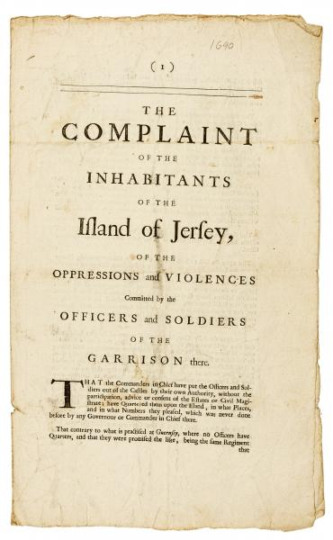 Channel Islands.- Jersey.- Complaint (The) of the Inhabitants of the Island of [...]
