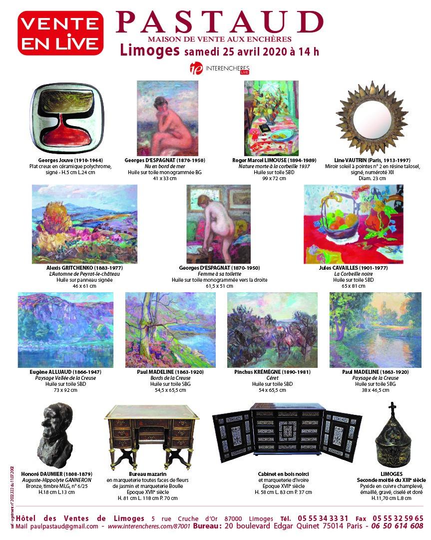 Vente Tableaux, Mobilier, Objets d'Art, Vins chez PASTAUD Maison de Ventes aux Enchères : 388 lots