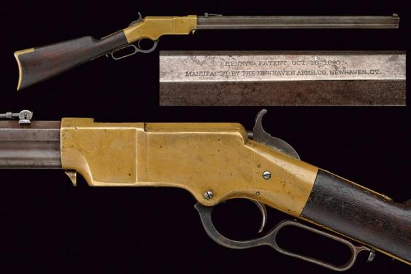 An extremely rare brass frame Henry rifle, dating: about 1870  - provenance: USA, [...]