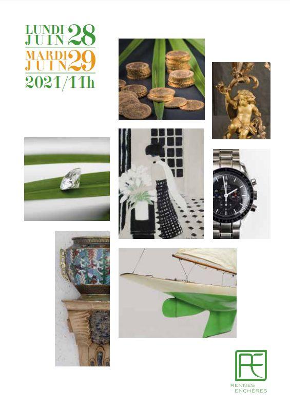 Vente Monnaies, Tableaux et Sculptures, Objets d'art, Mobilier, Marine chez Rennes Enchères : 349 lots
