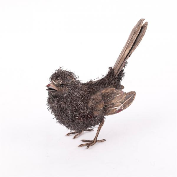 Italian silver miniature of a sparrow. Sterling silver, Italy, mid-20th century. [...]