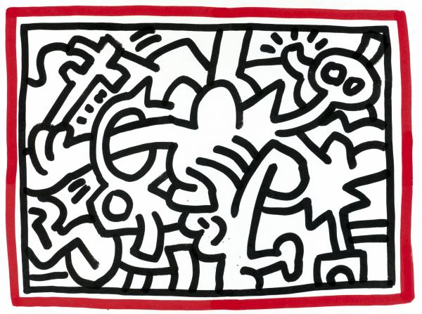 Keith Haring  - 1958-1990  - États-Unis  - Untitled (1987)  - Sumi ink black & red [...]
