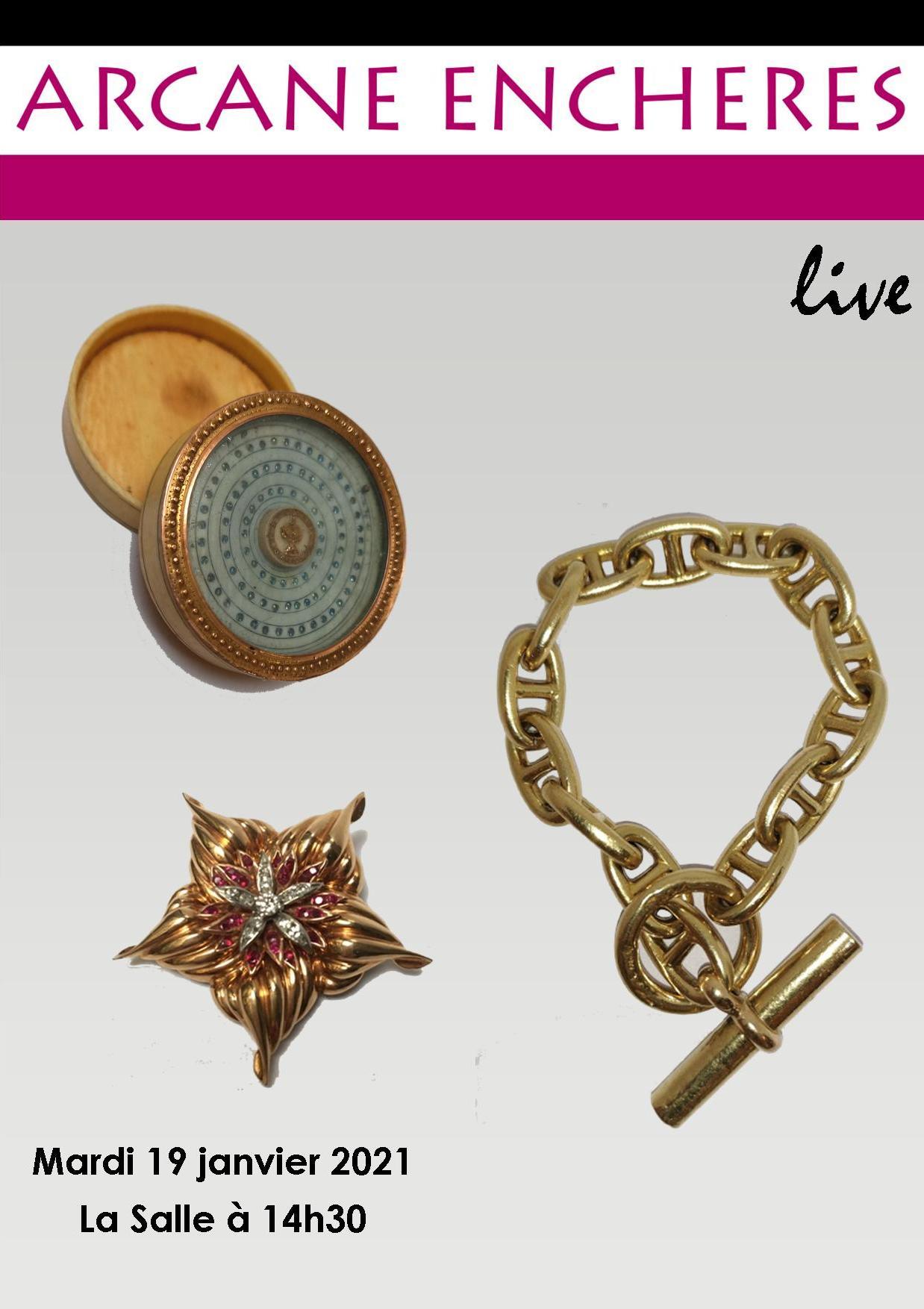 Vente Bijoux, montres, argenterie, objets de vitrine, verreries  chez ARCANE ENCHERES : 386 lots