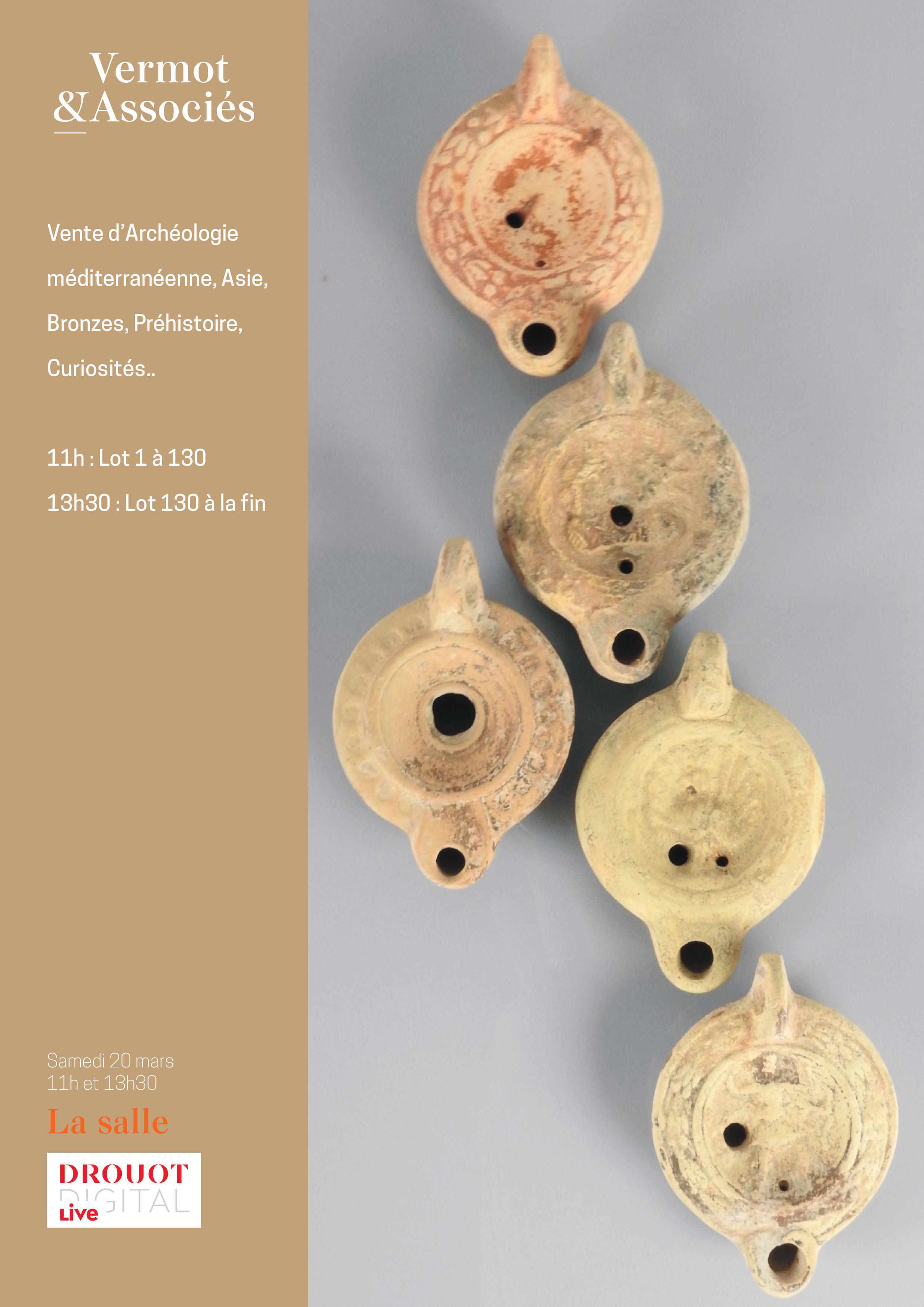 Vente Archéologie Méditerranéenne, Asie, Bronzes, Intailles, Curiosités...  chez Vermot et Associés : 579 lots