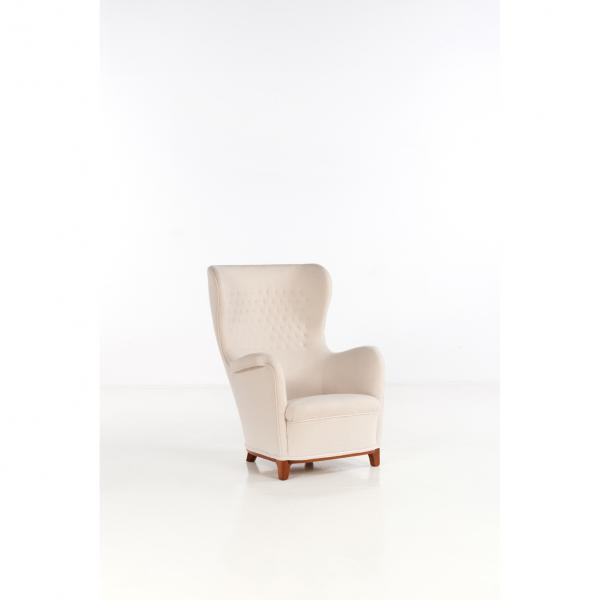 Carl-Axel Acking (1910-2001)  - Wing Chair  - Fauteuil  - Acajou blond et laine  - [...]