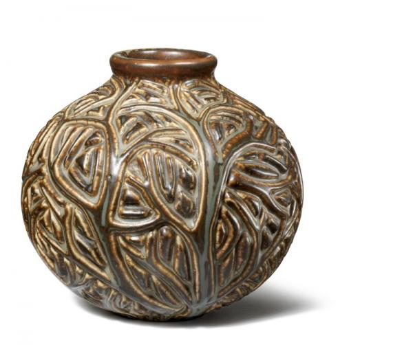 Axel Salto: A round stoneware vase modelled with branches. Decorated with Sung glaze. [...]
