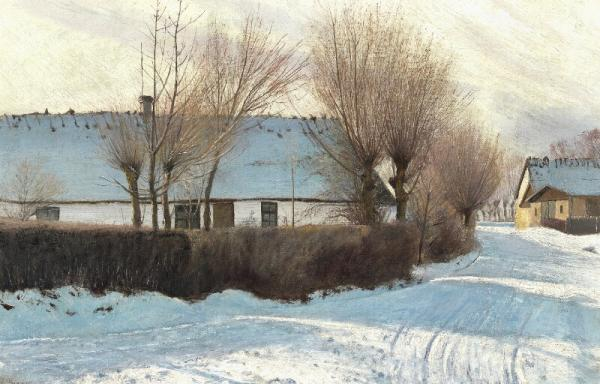 L. A. Ring: Snowcovered road in Baldersbrønde with strong shadows from a [...]