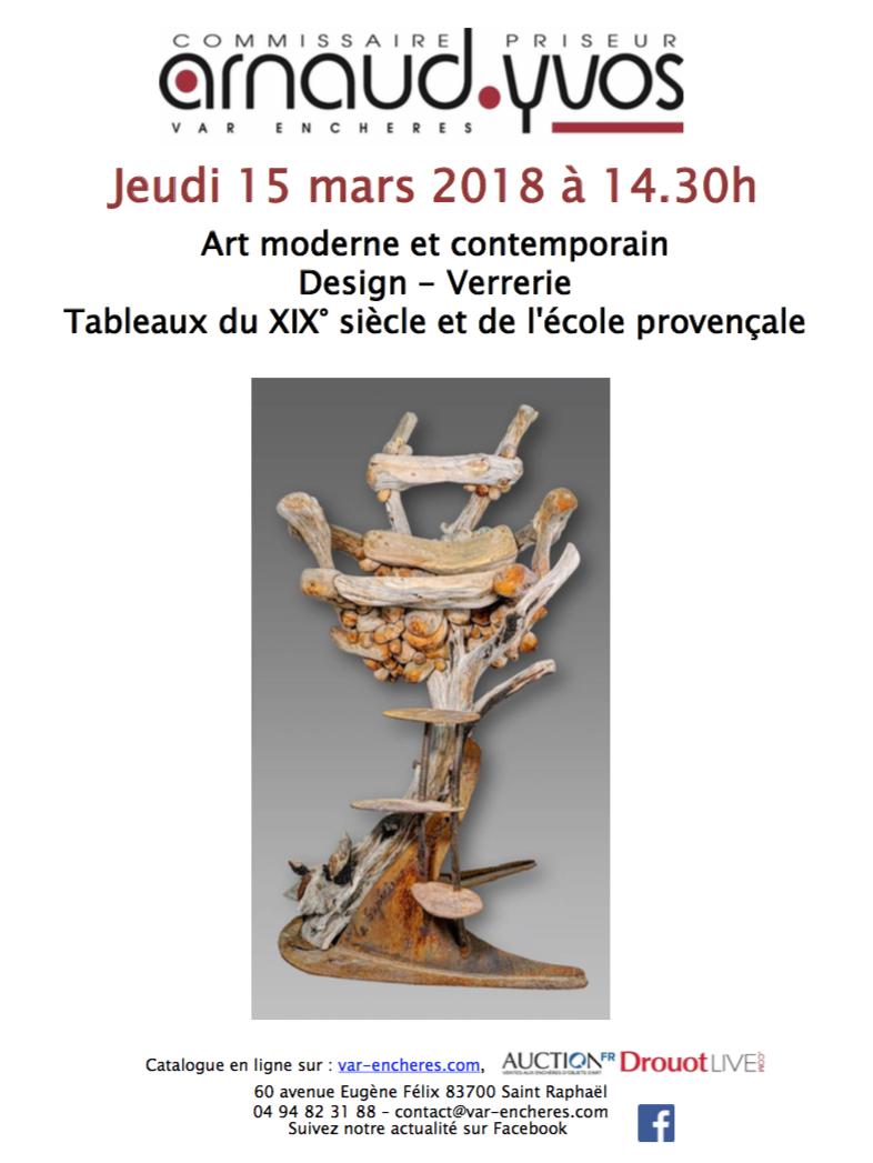 Vente Art Moderne et Contemporain - Design - Verrerie - Tableaux du XIXe siècle et de l'Ecole Provençale chez Arnaud Yvos - Var Enchères : 142 lots
