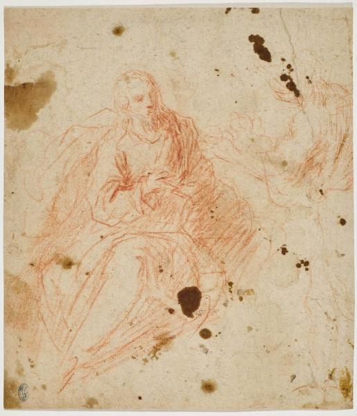 ITALIAN, 17TH CENTURY  -   - Study of the Annunciation. Verso: study of two fighting [...]