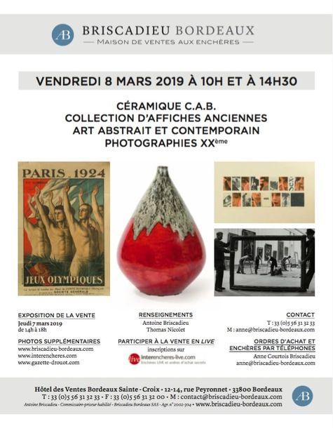 Vente Tableaux Contemporains, Céramiques d'Art de Bordeaux (C.A.B), Photographies XXème et Affiches Anciennes chez Briscadieu Bordeaux : 313 lots