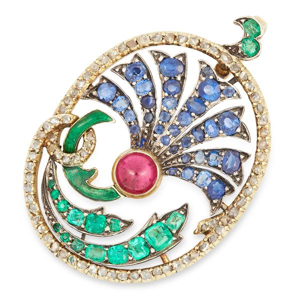 SAPPHIRE, RUBY, EMERALD, DIAMOND AND ENAMEL THISTLE PENDANT set with cushion cut [...]