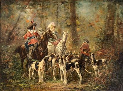 Ferdinand ROYBET (1840-1920). - «Chasse à courre sous Louis XIII... | lot  480 | Vente de Prestige (Seconde Partie) chez Dupont & Associés | Auction.fr