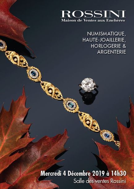 Vente Numismatique, Haute Joaillerie, Horlogerie, Argenterie chez Rossini : 223 lots