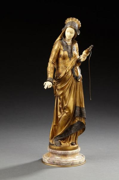 Albert CARRIER-BELLEUSE (1824-1887)  - La fileuse  - Sculpture chryséléphantine en [...]