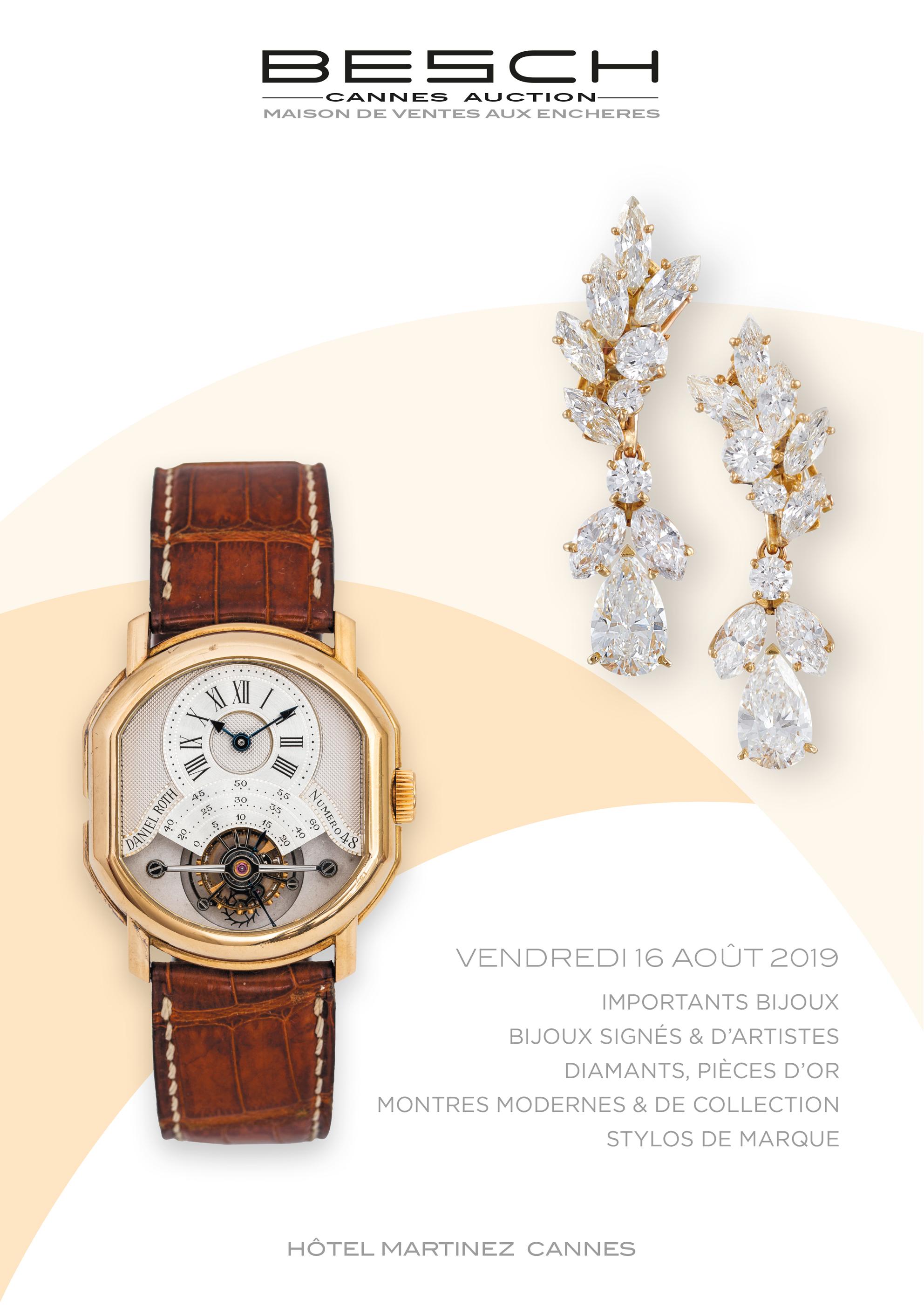 Vente Importants Bijoux, Bijoux signés & d'artistes, Diamants, Pierres de couleurs, Montres modernes & de collection, Stylos chez Besch Cannes Auction : 435 lots