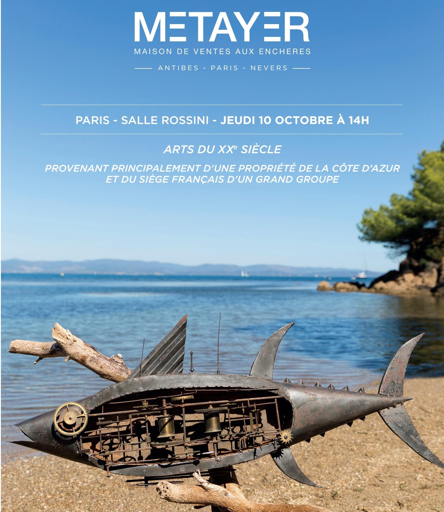 Vente Arts du XXème siècle chez Metayer Maison de Ventes aux Enchères Paris : 285 lots