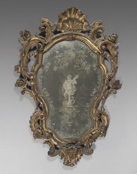 miroir entourage mouvement en bois dor d cor de coquilles et enroulements ensemble. Black Bedroom Furniture Sets. Home Design Ideas