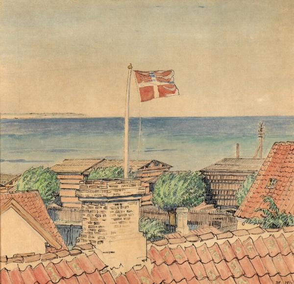 Johannes Larsen: Dannebrog is blowing in the wind over the red rooftops in [...]