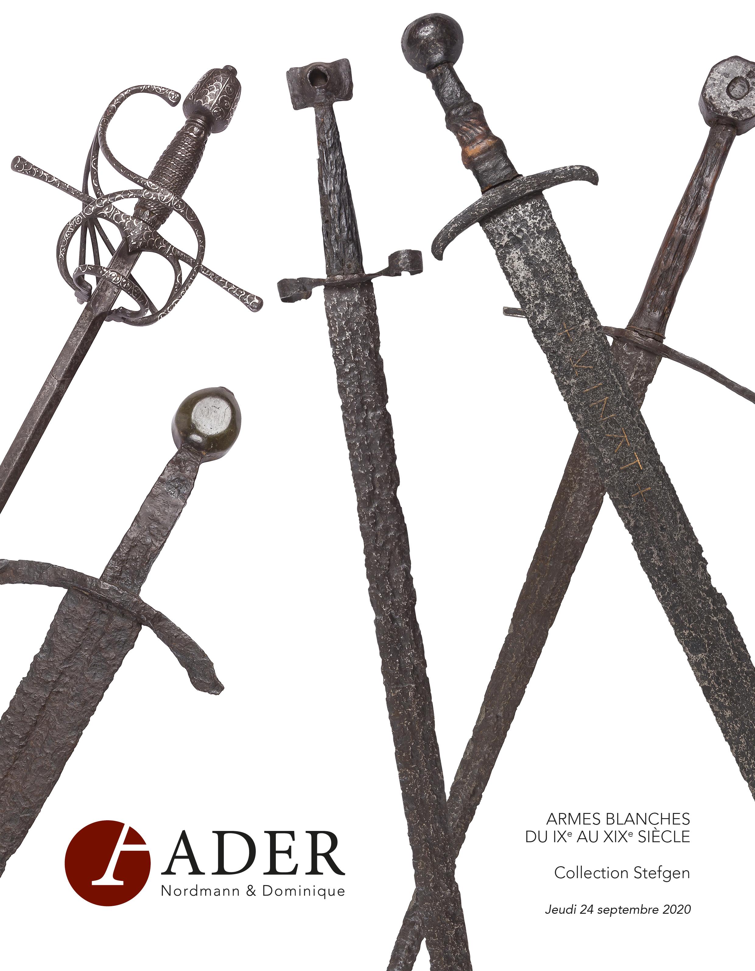 Vente Armes Blanches du IXe au XIXe siècle chez Ader : 119 lots