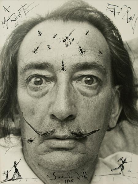 Salvador Dalí (Figueres, 1904 - 1989)  - Ink drawing on a photograph.  Signed three [...]