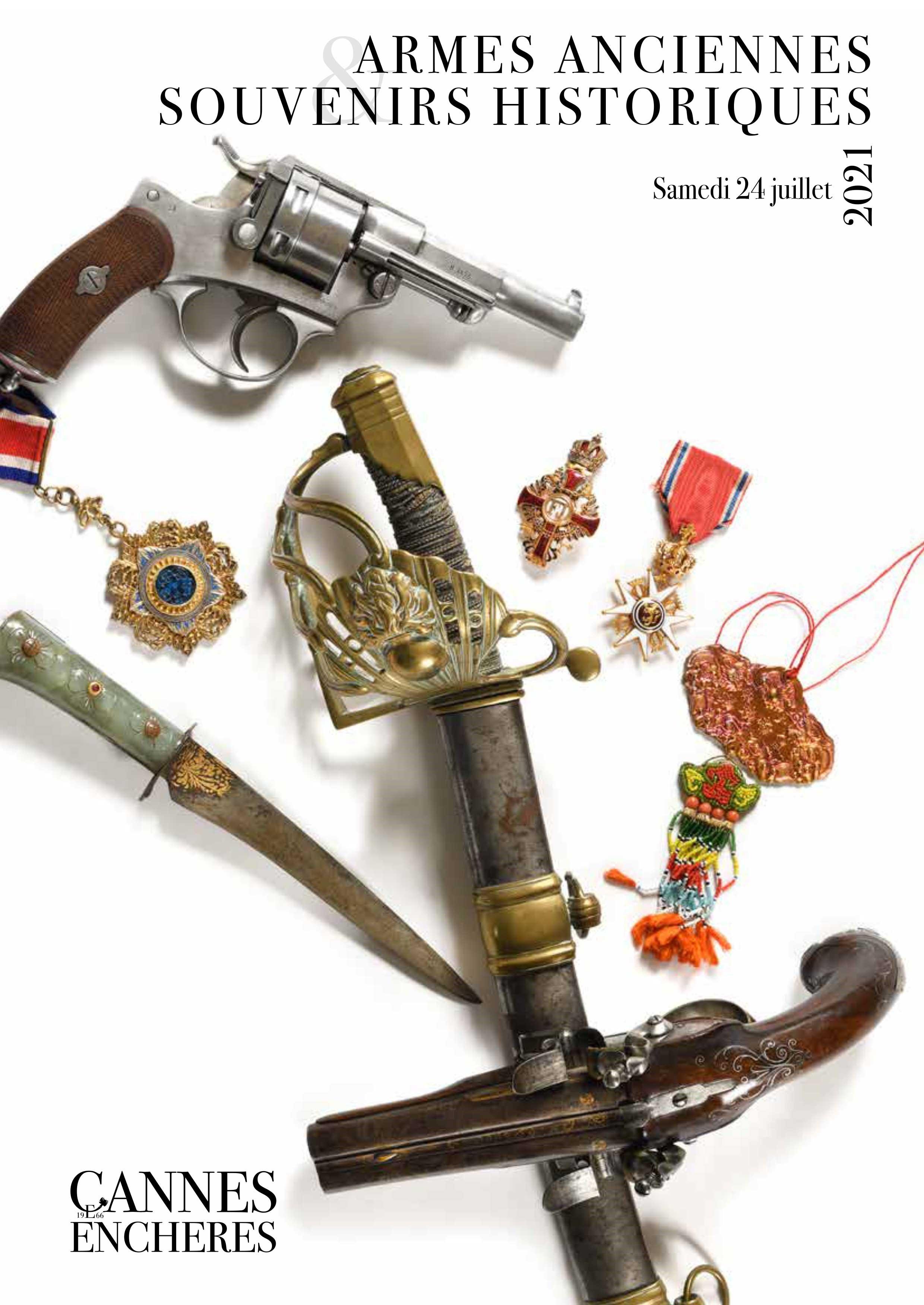 Vente Armes anciennes et Souvenirs historiques chez Cannes Enchères : 324 lots