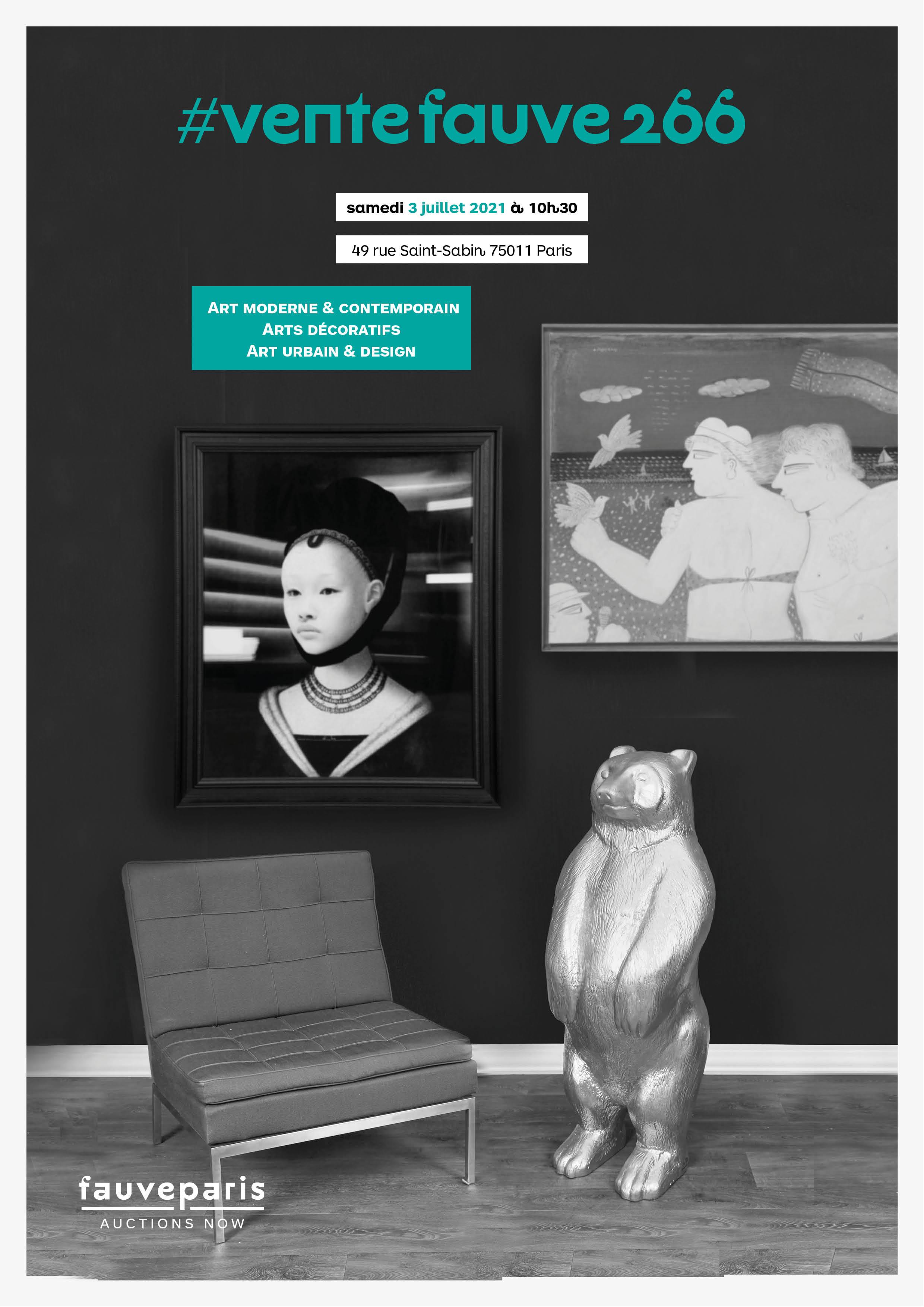 Vente Art Moderne & Contemporain • Arts Décoratifs • Art Urbain & Design chez FauveParis : 98 lots