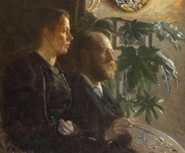 Viggo Johansen: The artist's self-portrait with palette in his hand and his wife [...]