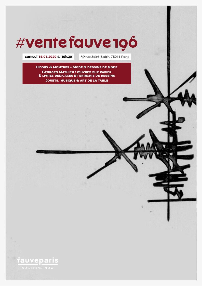Vente Vente Fauve 196 Collectibles : Bijoux & montres • Mode & dessins de mode • Georges Mathieu • Art de la Table  chez FauveParis : 91 lots