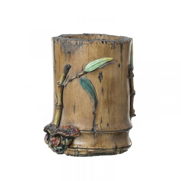Brush pot 'bamboo' in Chinese ceramic, Republic - China, Republic, polychrome glazed [...]