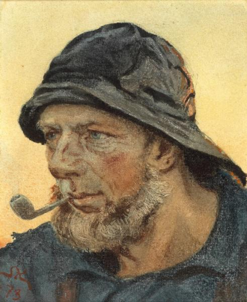 P. S. Krøyer: A fisherman from Hornbæk. Signed and dated S. K. 73. Watercolour on [...]
